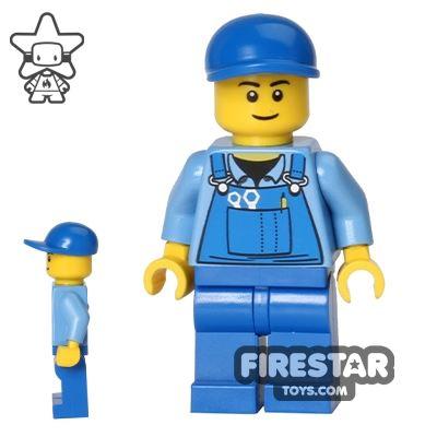 LEGO City Mini Figure - Blue Overalls and Cap
