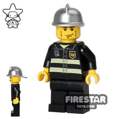 LEGO City Mini Figure - Fireman - Cheek Lines