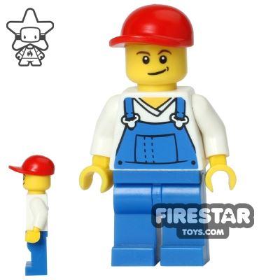 LEGO City Mini Figure - Blue Overalls - Crooked Smile