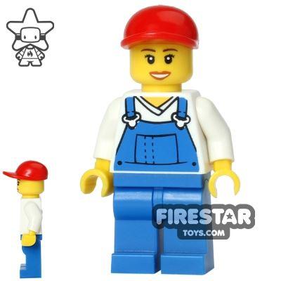LEGO City Mini Figure - Blue Overalls - Open Smile