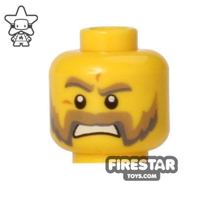 LEGO Mini Figure Heads - Scowl - Handlebar Moustache