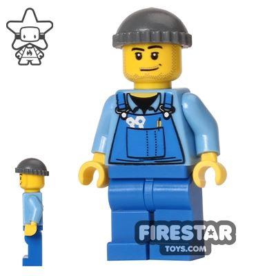 LEGO City Mini Figure - Blue Overalls - Knit Cap