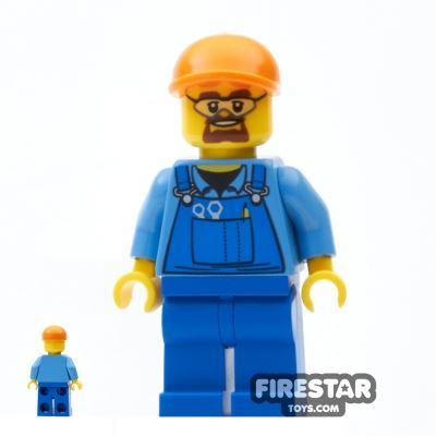 LEGO City Mini Figure - Construction Worker - Blue Overalls 3