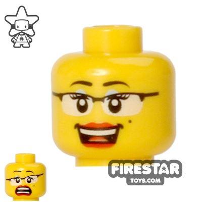 LEGO Mini Figure Heads - Glasses - Big Smile/Scared