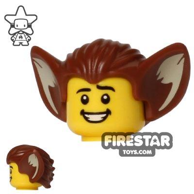 LEGO Hair - Bat Ears - Reddish Brown