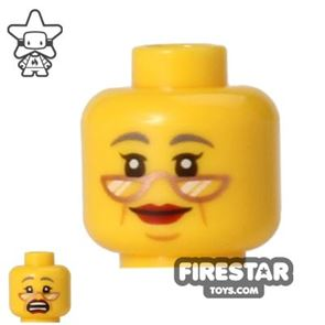 LEGO Minifigure Head Gray Eyebrows and Glasses