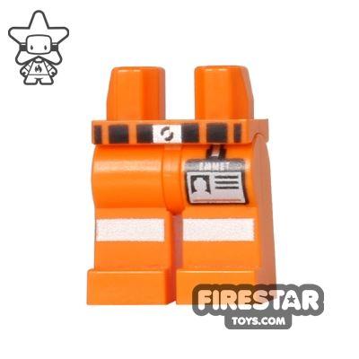 LEGO Mini Figure Legs - Orange Construction - Emmet Name Tag