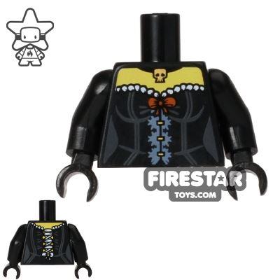 LEGO Mini Figure Torso - Black Corset - Skull Pendant