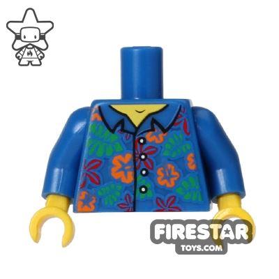 LEGO Mini Figure Torso - Blue Hawaiian Shirt