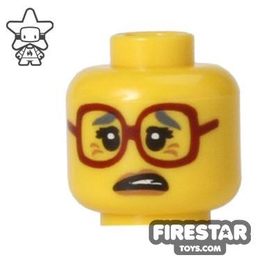 LEGO Mini Figure Heads - Big Red Glasses - Worried