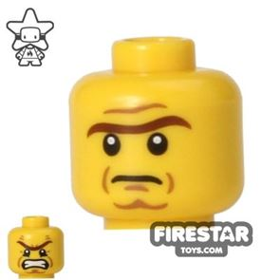 LEGO Mini Figure Heads - Heavy Eyebrow - Frown