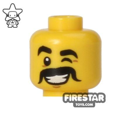 LEGO Mini Figure Heads - Wink - Black Moustache