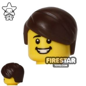 LEGO Hair - Short with Side Parting - Dark Brown