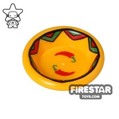 LEGO - Bowl - Bright Light Orange - Chilli Pepper Print