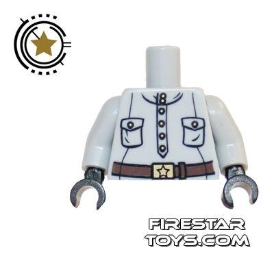 LEGO Mini Figure Torso - Gray Suit With Brown Belt