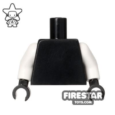 LEGO Mini Figure Torso - Plain Black - White Arms
