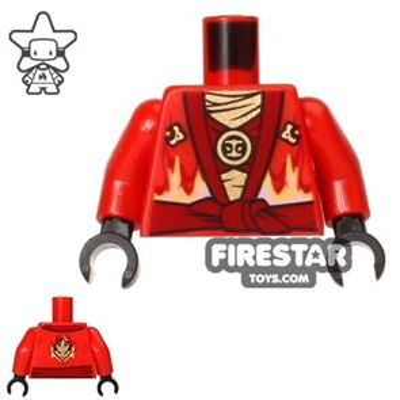 LEGO Mini Figure Torso - Ninjago - Red with Fire Power Emblem
