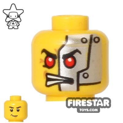 LEGO Mini Figure Heads - Crooked Smile/Cyborg