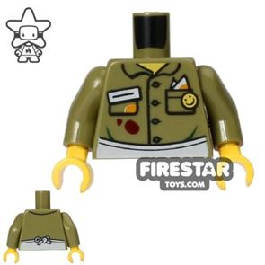 LEGO Mini Figure Torso - Stained Shirt - Olive Green