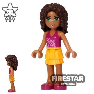 LEGO Friends Mini Figure - Andrea - Orange and Magenta Outfit