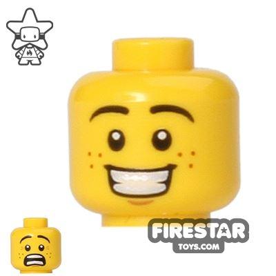 LEGO Mini Figure Heads - Big Grin/Scared - Freckles