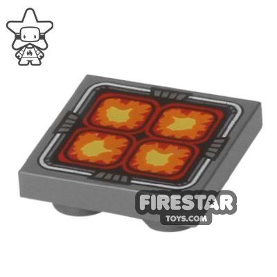 Printed Modified Tile - 2x2 - Orange Squares