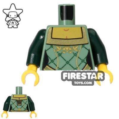 LEGO Mini Figure Torso - Corset - Sand Green and Gold