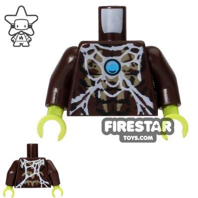 LEGO Mini Figure Torso - Spider - Web Pattern - Dark Brown