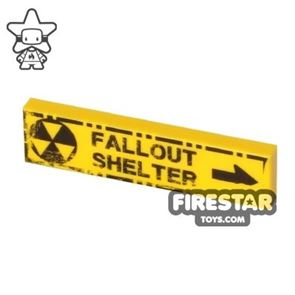 Printed Tile 1x4 - Fallout Shelter - Worn