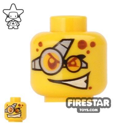 LEGO Mini Figure Heads - Goggles - Evil Grin