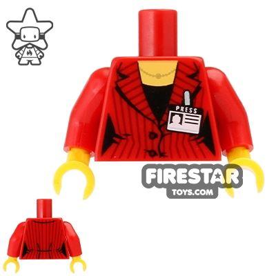 LEGO Mini Figure Torso - Red Jacket and Press Pass