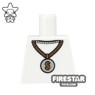 LEGO Mini Figure Torso - White Top And Gold Medallion - No Arms