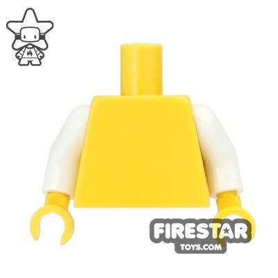 LEGO Mini Figure Torso - Plain Yellow - White Arms