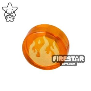Printed Round Tile 1x1 - Flame