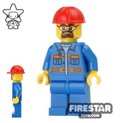 LEGO City Mini Figure - Construction Worker - Blue Overalls 5