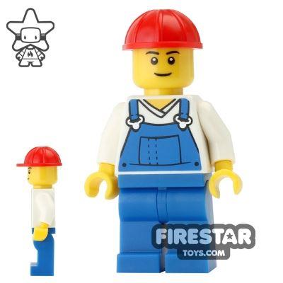 LEGO City Mini Figure - Blue Overalls - Red Construction Helmet