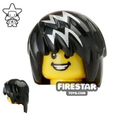 LEGO Hair - Punky Hair - Black with White Streaks