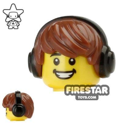 LEGO Hair - Choppy with Headphones - Reddish Brown
