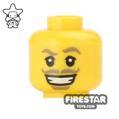 LEGO Mini Figure Heads - Tan Moustache and Grin