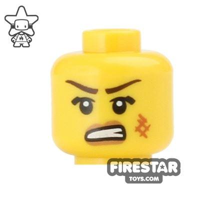 LEGO Mini Figure Heads - Bared Teeth - Scratched Cheek