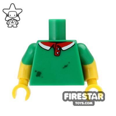 LEGO Mini Figure Torso - Green Shirt - Grease Stains