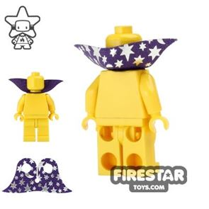 LEGO Cape - Wizard Collar - Silver Moon and Stars