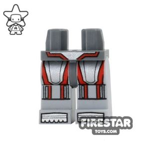 LEGO Mini Figure Legs - Silver and Red Armour