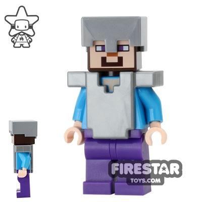 LEGO Minecraft Mini Figure - Steve With Armour - Flat Silver