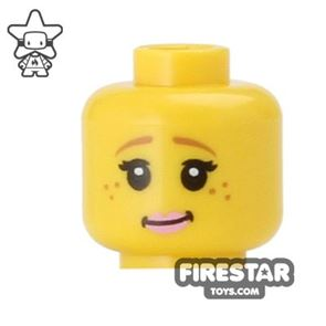 LEGO Mini Figure Heads - Pink Lips and Freckles