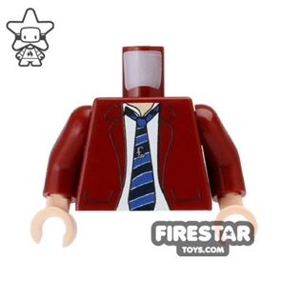 Custom Mini Figure Torso - Jacket and Tie - Dark Red