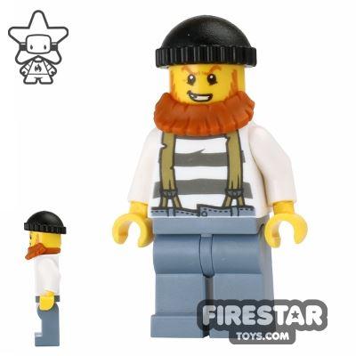 LEGO City Mini Figure - Swamp Police - Crook with Beard