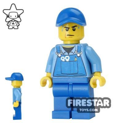 LEGO City Mini Figure - Blue Overalls - Sweat Drops