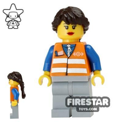 LEGO City Mini Figure - Train Worker - Long Braid