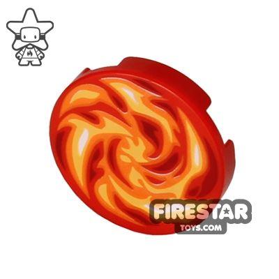 Printed Round Tile 2x2 - Fire Swirl